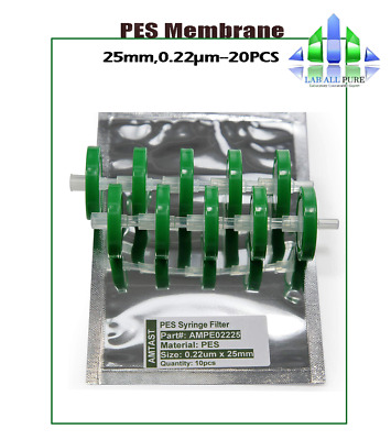 20PCS Filtres pour seringues à membrane PES 0.22 μm / 25 mm Lab Consumable Filte