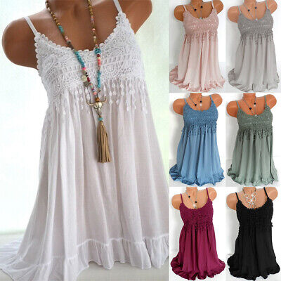 Womens Lace Strappy Dress Ladies Summer Beach Long Maxi Dress Cotton Plus Size