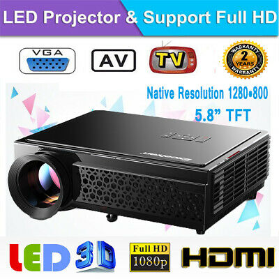 Excelvan 7000lum Outdoor LED 1080P Video Projector Home Theater Cinema HDMI USB