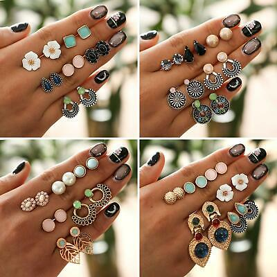 JQ_ CO_ 6 Pairs/Set Exquisite Women Square Round Flower Stud Earring Jewelry P