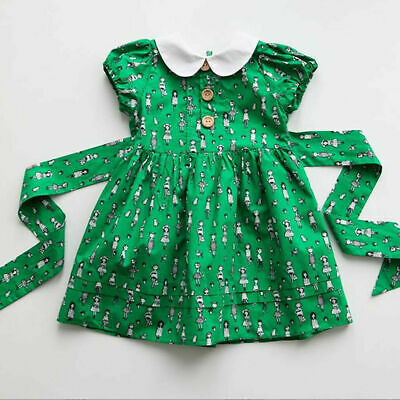 UK Toddler Baby Girls Kid Summer Party Dress Green Skirt Outfit Sundress Clothes