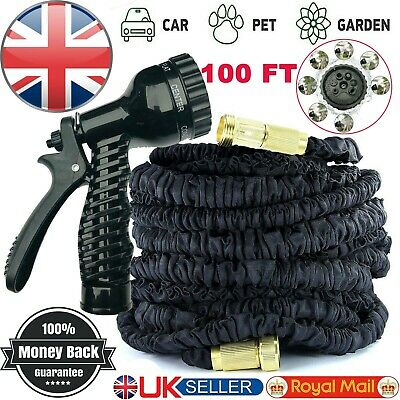 Expandable Garden Hose Flexible 100Ft Pipe Expanding With Spray Gun Black