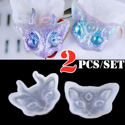 2pcs/set Cat with Horn 3 Eyes Silicone Mold Necklace Pendant Resin Jewelry Craft
