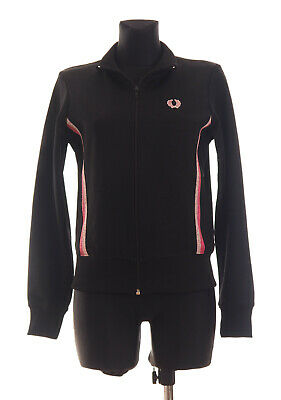 FRED PERRY Women's Black long Sleeved Zip Front Tracksuit Top Jacket Size UK 14