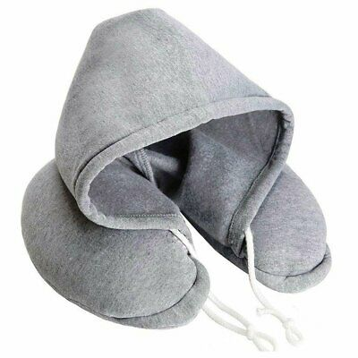 Hooded Pillow Cushion Car Office Airplane Head Rest Neck Support U-Shaped BO