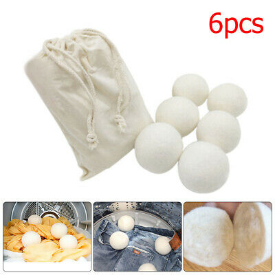 6pcs Reusable Natural Sheep Wool Dryer Balls Laundry Cloth Fabric Softener #ur