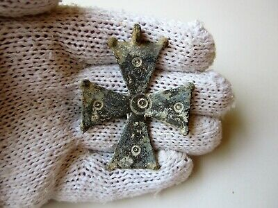 Perfect late Roman or Byzantine lead engraved cross.