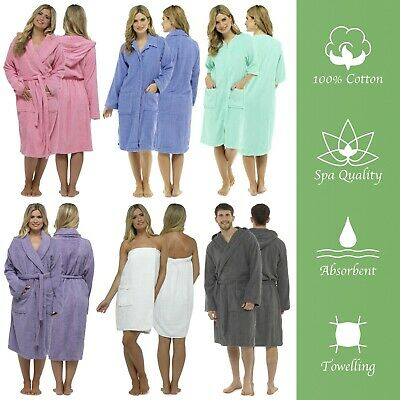 Mens Or Ladies Towelling Bath Robe Dressing Gown 100% Cotton Terry Spa Soft Warm