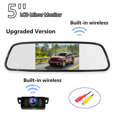 Car Built-in Wireless 5'' Mirror Monitor+IR Nightvision Rear View Backup Camera