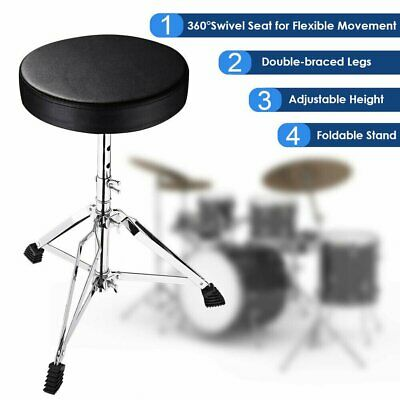 Foldable Music Guitar Keyboard Drum Stool Throne Piano Chair Padded Seat Chrome