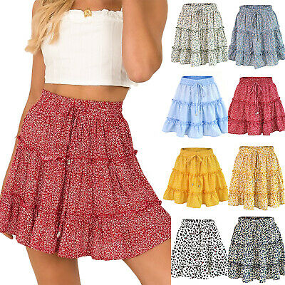 Women Leopard Print Ruffle Short Skirt Summer Party Wrap High Waist Mini Dresses