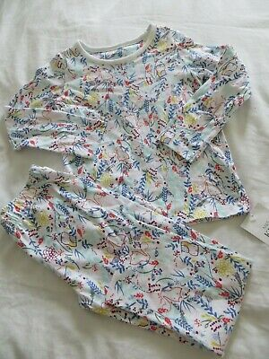BNWT Girls Marks & Spencer Floral Woodland Animal Cotton Pyjama Set Age 3-4yrs