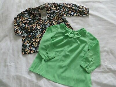 BNWT Girls Next Set of 2 Blue Floral & Plain Green Blouse Tops Age 9-12mnths