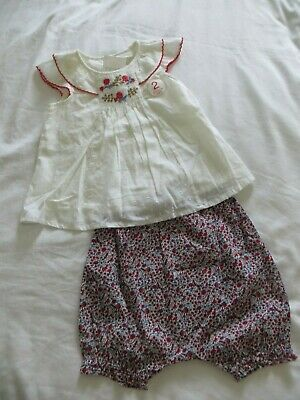 BNWT Girls Next 2 Piece White Embroidered Top & Floral Bloomer Set Age 9-12mnths