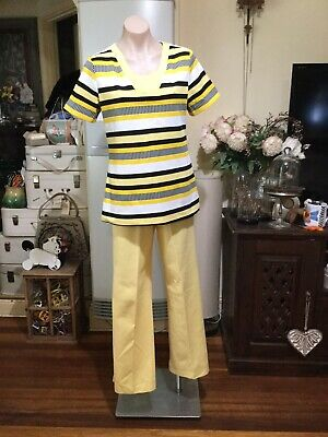 Vintage Suit High Waist Flared Pants Short Sleeve Top Yellow White Black 14-16