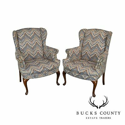 Queen Anne Style Vintage Pair Flame Stitch Wing Chairs