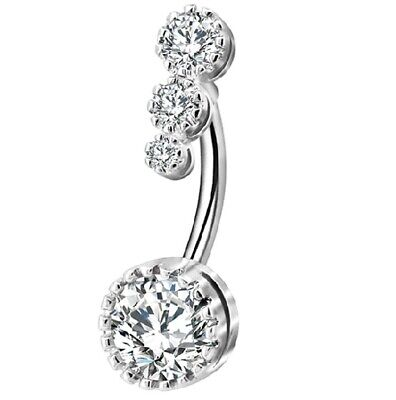 Belly Bars Beautiful Double End CZ Stone Clear Crystal Belly Bar New Arrival