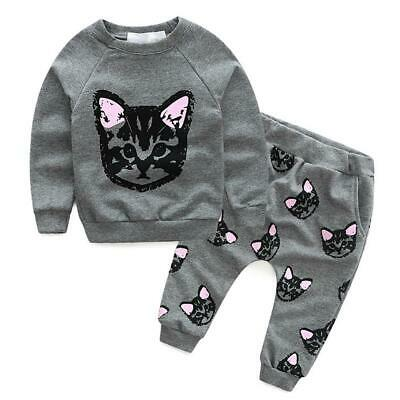 Toddler Kids Baby Girls Autumn Outfits Clothes Cat T-shirt + Pants 2PCS Set #gib