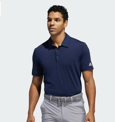 NWT Men's L Adidas Ultimate 365 Crestable Solid Blue Polo Golf Shirt $65 MSRP