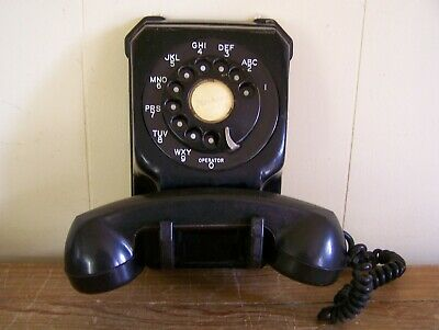Vintage Antique Stromberg Carlson Black Wall Telephone Metal Rotary Dial 1543 L