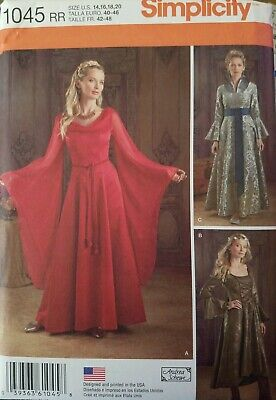 Simplicity 1045 Women Medieval Dress Princess Costume Sewing Pattern Size 14-20