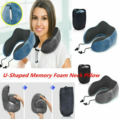 U Shaped Memory Foam Travel Pillow Neck Support Head Rest Airplane Cushion New