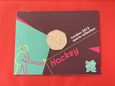 2011 HOCKEY 50p Fifty Pence Coin BU Sealed In 2012 Olympic Official Sport Card