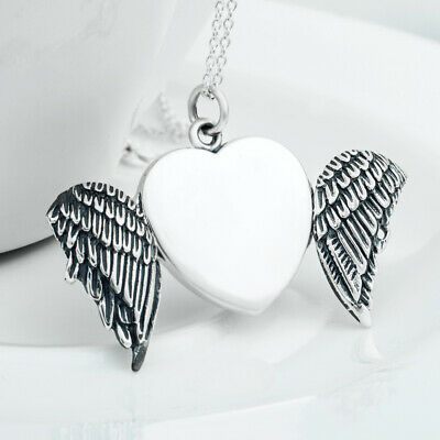 Solid Sterling S925 Silver Angel Wings Heart Photo Locket,Engrave Free Chain!!