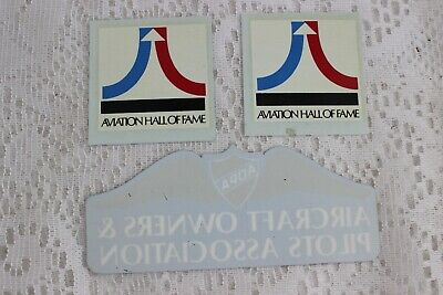 3 Aviation Hall Of Fame / Aopa Aircraft Owners & Pilots Assoc Decal Stickers