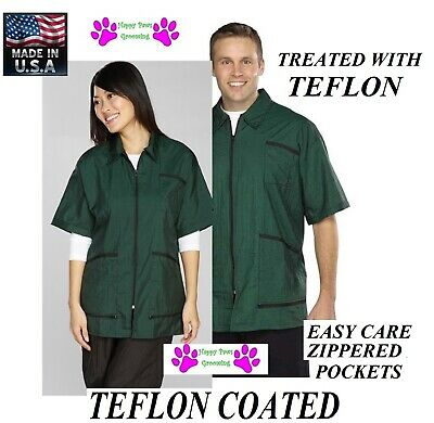 GREEN ZIP FRONT STYLIST JACKET w/TEFLON GROOMING Hair Water Stain REPEL Groomer
