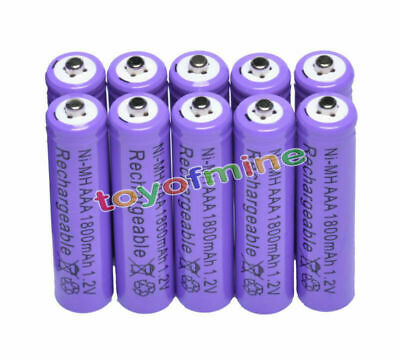 10x AAA 1800mAh 1.2V Ni-MH 3A Purple Color Rechargeable Battery Cell