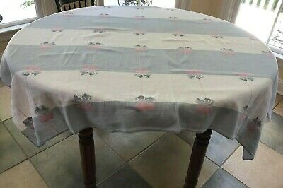 Vintage White, Gray & Pink Linen Table Cloth 48 x 64