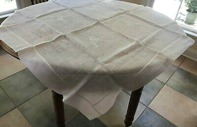 Vintage Sheer White on White Embroidered Hemstitched CutWork Table Cloth 47 x 49