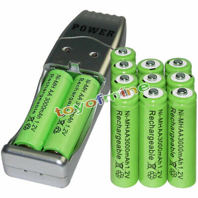 12x AA battery batteries Bulk Rechargeable NI-MH 3000mAh 1.2V Gre + USB Charger