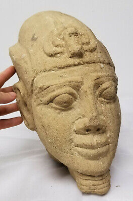 Antique Egyptian Style Carved Pharoah Head Sandstone Ancient Alien Antiquity