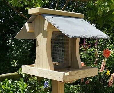 QUALITY BIRD TABLE with NATURAL SLATE ROOF & EASY FILL PEANUT FEEDER