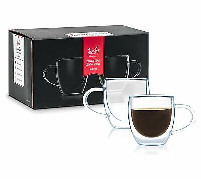 Double-walled Thermo Glass 4-ounce Coffee Cup/Bistro Mug (Set of 2)