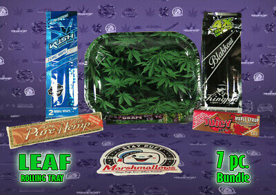 *New* Cannabis Leaf Metal Rolling Tray Combo pack 7 item bundle *Free US Ship*