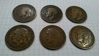 ~GEORGE V  ONE PENNY COINS~  DATED 1917 to 1922~~6 Coins in total~