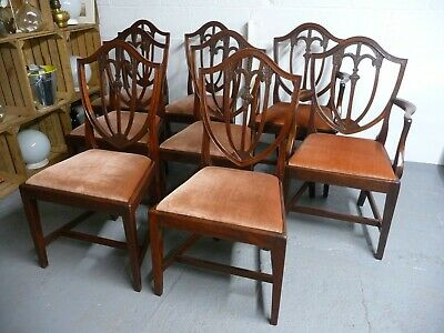 Antique 19th Century Set Of Eight Mahogany Dining Chairs Two Carvers & Six Chair