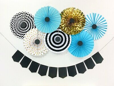 One Size 6ct 291006 Black Silver /& Gold Amscan Grad Paper Fan Decorations
