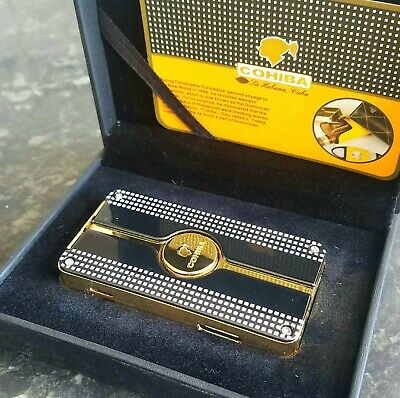 24k Gold Plated Cohiba Lighter Triple 3 Flame Turbo Jet Cigar Punch Gas Gift Box