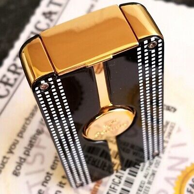 24k Gold Plated Cohiba Lighter Table 3 Flame Turbo Jet Cigar Punch Gas Gift Box