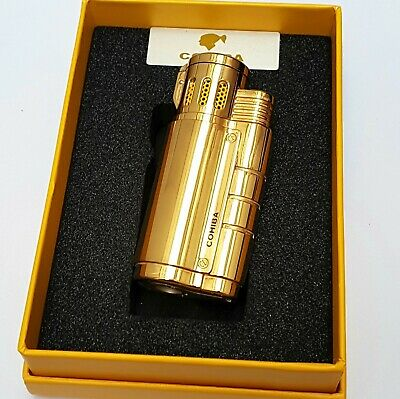 24k Gold Plated Metal Cohiba Triple 3 Flame Turbo Jet Lighter Cigar Punch Gas