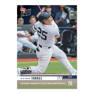 2019 Topps Now #458 Gleyber Torres Youngest Yankees To 200 Hr Since Mantle