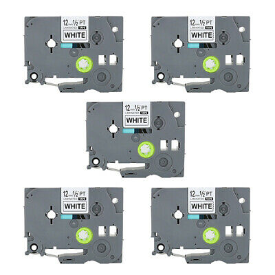 5PK Compatible for Brother TZe231 Black on White P-Touch PT-D210 Label Tape 12mm