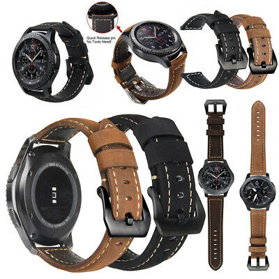 Genuine Leather Wrist Band Strap For Samsung Galaxy Watch 42mm/46mm Replacement