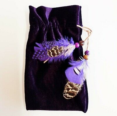 Plush Velvet Tarot Bag Hand-Crafted With Natural Feather & Suede Trim 14 x 20 cm