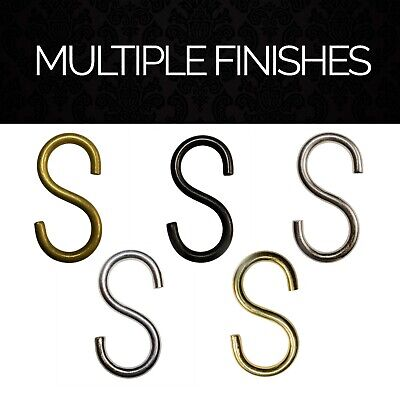 5 PACK Brass S-Hook Quick Connectors for Home Decor, Lighting Chains | SH-13(L)