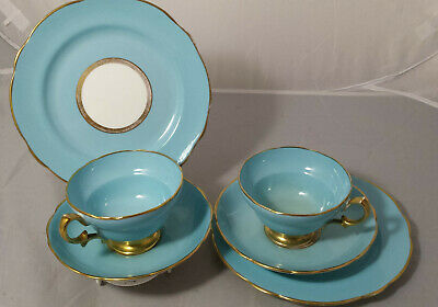 2 Antique Vintage Art Deco Hammersley China Cup Saucer & Plate Trios c1920s /30s